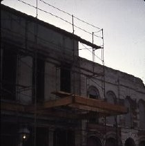 Old Sacramento. View of the Heywood Building under construction on 2nd Street, east side between J and K Streets