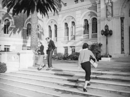 Doheny Library steps at U.S.C