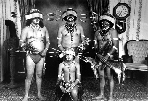 Maidu Dancers (left to right, standing)--Joe Marine, Ken Fred, and Frank LaPena; kneeling--Vince LaPena