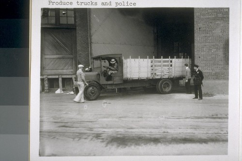 Produce trucks and police
