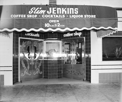 Exterior entrance of Slim Jenkins nightclub and coffee shop
