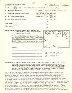Systematic observation sheet 130, 1967