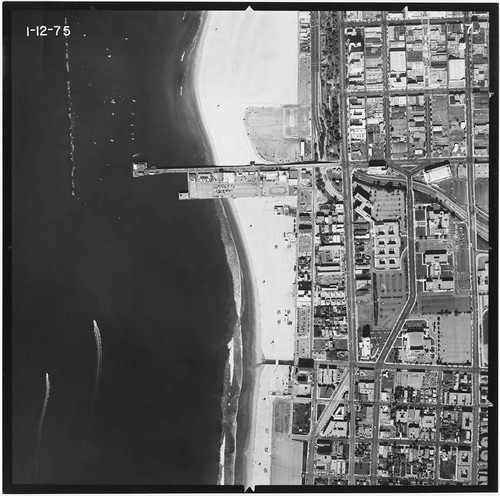 Aerial survey of Santa Monica beaches and coastline north to south from Santa Monica Canyon to the Santa Monica Pier (Image #7, 1 inch=500 feet) flown January 12, 1975