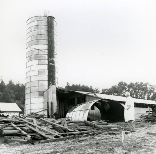 The razing of silos on the former Roy Ranch, San Geronimo, California, May, 1964 [photograph]