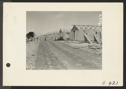 Parker, Ariz.--Constructing quarters for evacuees of Japanese ancestry at War Relocation Authority center on Colorado River Indian Reservation. Photographer: Albers, Clem Parker, Arizona