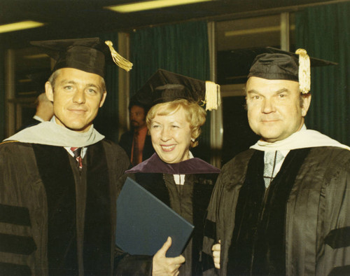 Chancellor Banowsky, unknown lady, President Young