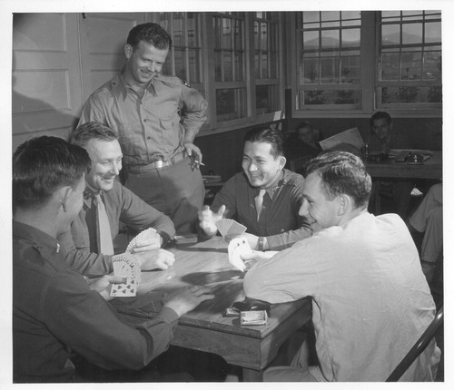 1st Lt. Shigeru Tsubota playing bridge with other officer patients at the Moore General Hospital, Swannanoa, North Carolina. Lt. Tsubota
