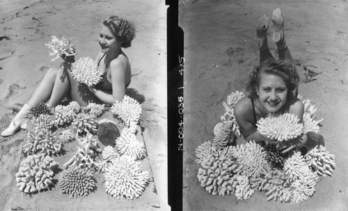 Young woman with sea anemones