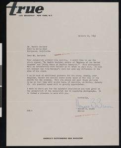 Horace B. Brown, letter, 1940-01-11, to Hamlin Garland