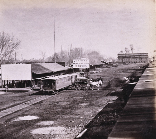 1074. The Railroad Depots, on the Levee, Sacramento City