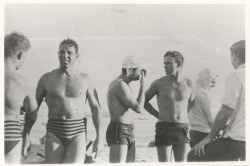Ragon ?, Don Patterson, Charley Frans, E. J. Oshier, P. B. Smith (Smitty), Sam, Maugeri at Cowell Beach