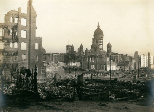 City Hall from Van Ness Avenue, San Francisco Earthquake and Fire, 1906 [photograph]