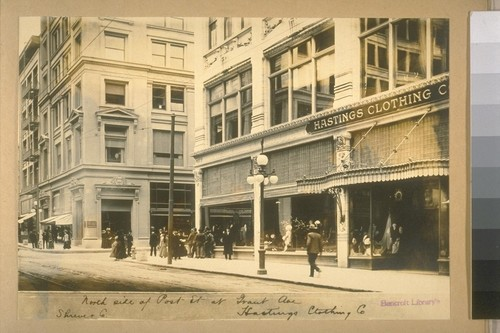 North side of Post St. at Grant Ave. Shrewer Co., Hastings Clothing Co.[mpany]