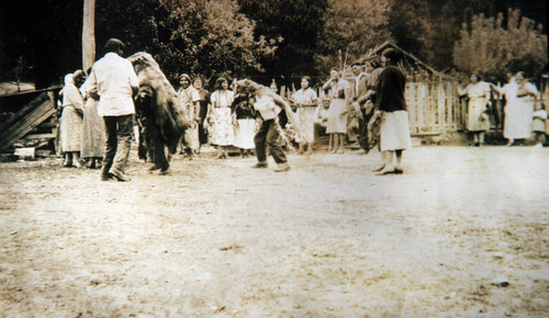 Scene from early Greenville Bear Dance--people participating in dance