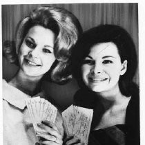 EVENT NEARS - Yvonne Zetz, Miss Sacramento of 1964, and Wendy Douglas, Miss Sacramentio and Miss California of 1963, are ready to sell the first tickets to the 1965 Miss Sacramento and Miss California Pageant