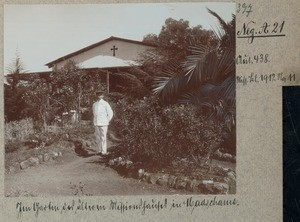 In the garden of the older mission house in Machame, Tanzania, ca.1900-1912