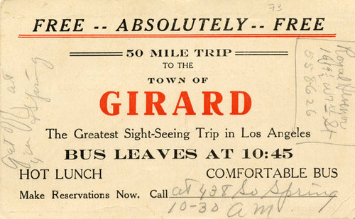 Ticket for a sight seeing trip to Girard
