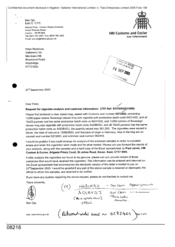 [Letter from Ken Ojo to Peter Redshaw regarding a request for cigarette analysis and customer information]