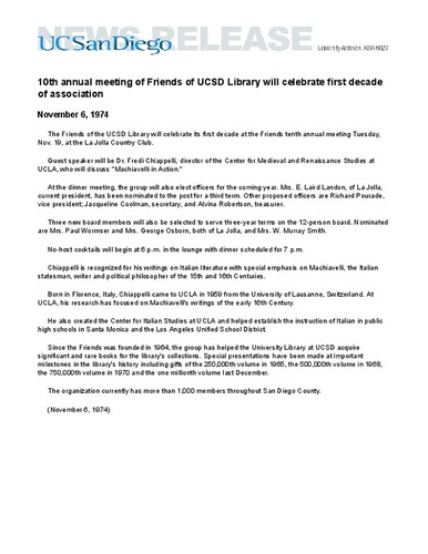 10th annual meeting of Friends of UCSD Library will celebrate first decade of association