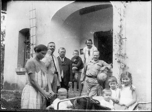 Group portrait of Mr. and Mrs. Winkler, Missionary Blumer with Wilhelm, Missionary Eisenschmidt and other Europeans, Tanzania, ca. 1926-1928