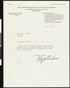 Clyde Fisher, letter, 1931-07-01, to Hamlin Garland