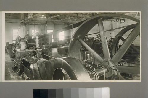 [Engine and belt-driven generator. Interior of power house. Redwood Manufacturers Company. Pittsburg, California.]