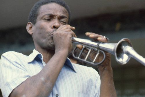 Man Playing the bugle at the Blacks and Whites Carnival, Nariño, Colombia, 1979