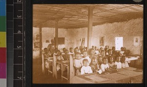 Girls at their lessons, in the boarding school at Segbwema, Sierra Leone, ca. 1927-28