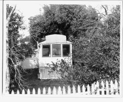 Front view of P&SR streetcar located near Analy High School that was used as a residence by Mrs. Vinnie Hampton (Christian Science Practitioner) in 1950s and 1960s