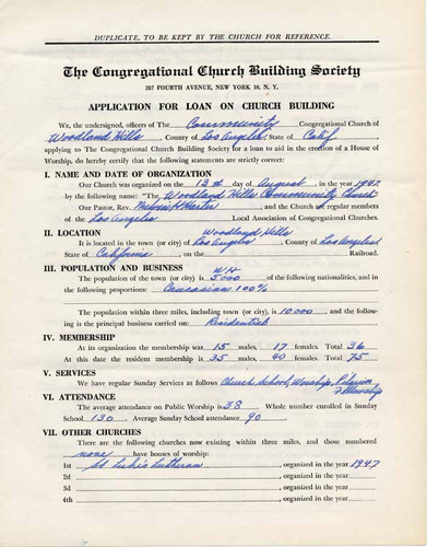 Application for church construction loan, 1948