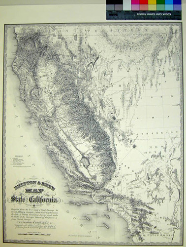 Britton & Rey's Map of the State of California : Compiled from the U. S. Land and Coast Surveys, the several military, scientific and rail road explorations, the State & County Boundary Surveys made under the order of the Surveyor General of California, & from private surveys / By George H. Goddard, C.E