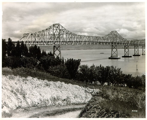 [View of the cantilever section of the San Francisco-Oakland Bay Bridge looking east from Yerba Buena Island]
