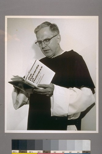 [William Everson with book, Hazards of Holiness.]