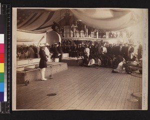Audience of indigenous men including chiefs on board ship, Papua New Guinea, ca.1884