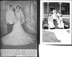Geraldine Ann O'Leary in wedding dress with six attendants on porch and front steps of house on June 4th, 1958 and a newspaper clipping of Geraldine Ann O'Leary and Jack James (Bud) Daveiro after their wedding in St. Sebastian;s Church
