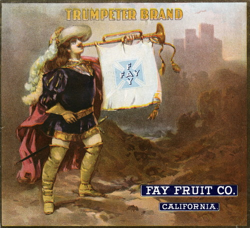 "Crate label, ""Trumpeter Brand."" Fay Fruit Co. Riverside, Calif"