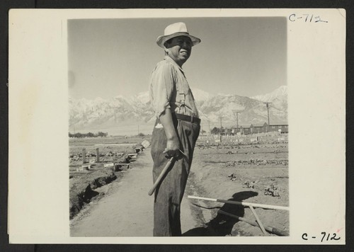 Manzanar, Calif.--This evacuee is foreman of the Hobby Gardens project at this War Relocation Authority center. Photographer: Lange, Dorothea Manzanar, California