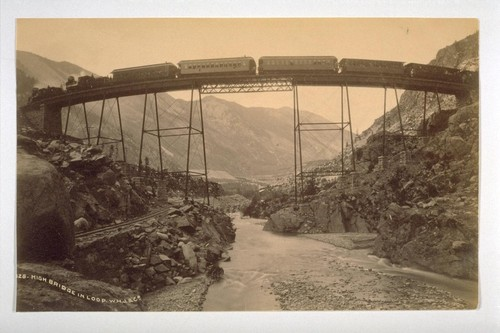 High Bridge in Loop [Union Pacific Railway, near George Town Colorado]. W.H. J [Jackson] & Co