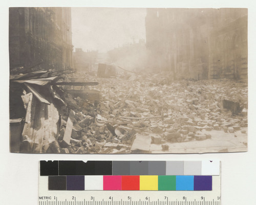 [Ruins and rubble in street. Unidentified location.]