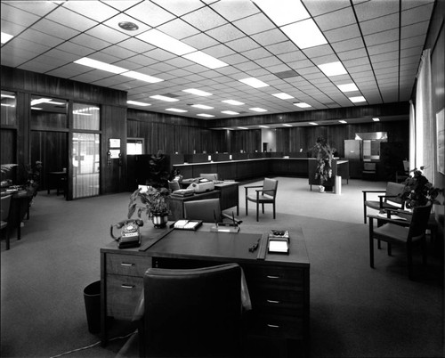 Interior views of the Healdsburg branch of the First National Bank, Healdsburg, California, 1969