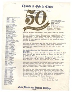 Letter and Church of God in Christ 50th Anniversary plans, 1957 Sept. 1
