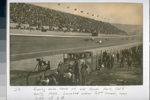 [Auto race, probably at Culver City Motor Speedway in the 1920s]