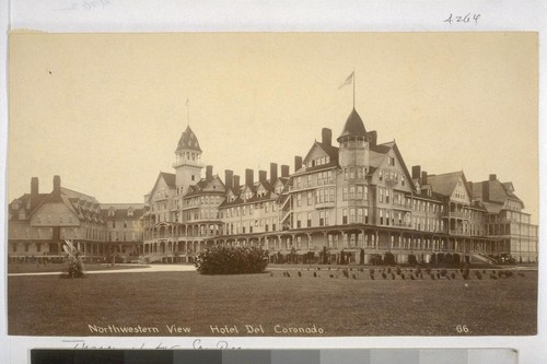 Northwestern View. Hotel Del Coronado. 66. [Photograph by Turner. Print has been removed from original mount, also included as 04264.]