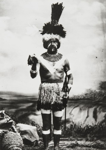 Rafael Solares (1822-1890), Chief of the Inéseño Chumash Community of Zanja de Cota. Photographed in traditional dancing regalia : 1878, by Léon de Cessac, a French anthropologist