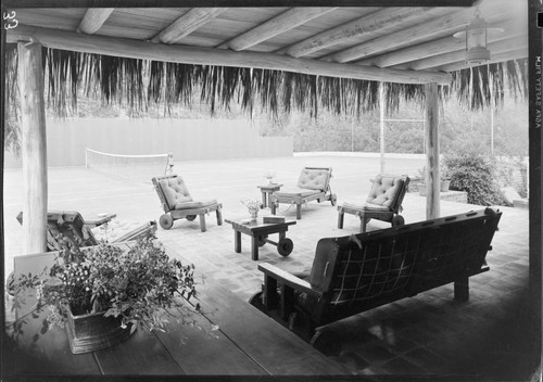 Loy, Myrna, and Arthur Hornblow, residence. Outdoor living space