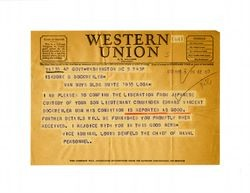 Telegram from Vice Admiral Louis Denfeld to Isidore B. Dockweiler, October 5, 1945