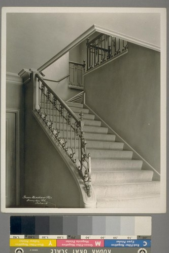 Grace Henshaw Res. Hampton Rd., Piedmont. [Interior, staircase with iron railing.]