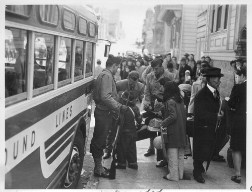 The Japanese quarter of San Francisco on the first day of evacuation from this area. About 660 merchants, shop-keepers, tradespeople