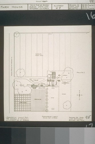 Farmstead layout - Suggestive layout for Mr. Sidney N. Graves, Allotment No. 19, Durham - Designed by State Land Settlement Board, 11-14-18