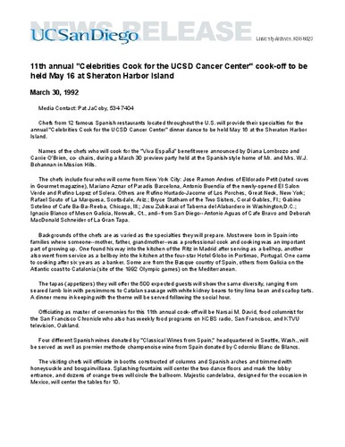 "11th annual ""Celebrities Cook for the UCSD Cancer Center"" cook-off to be held May 16 at Sheraton Harbor Island"